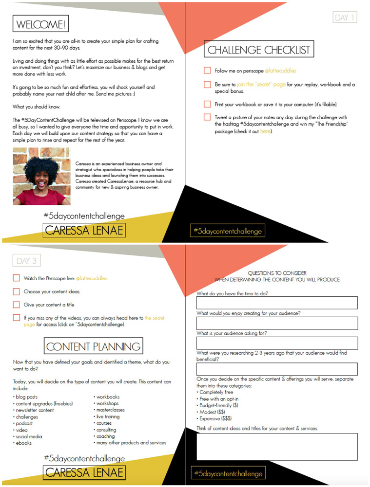 Caressa Workbook Collage