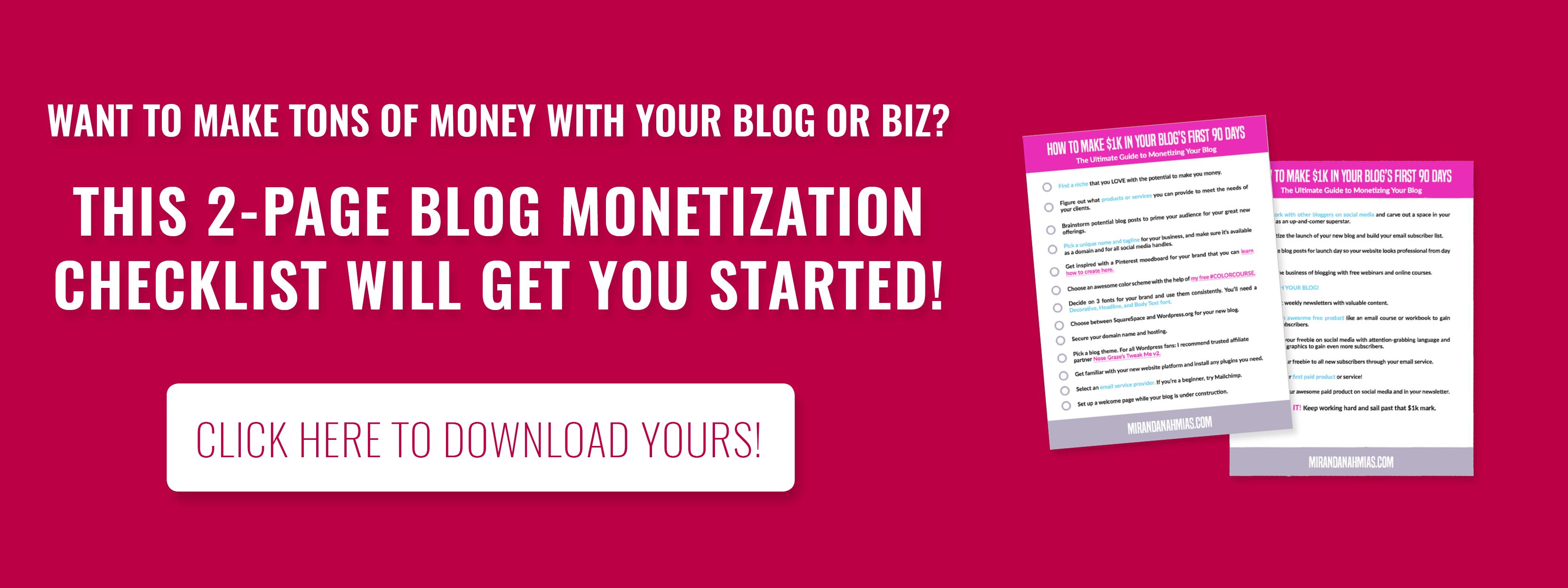 Blog Monetization Checklist Miranda Nahmias