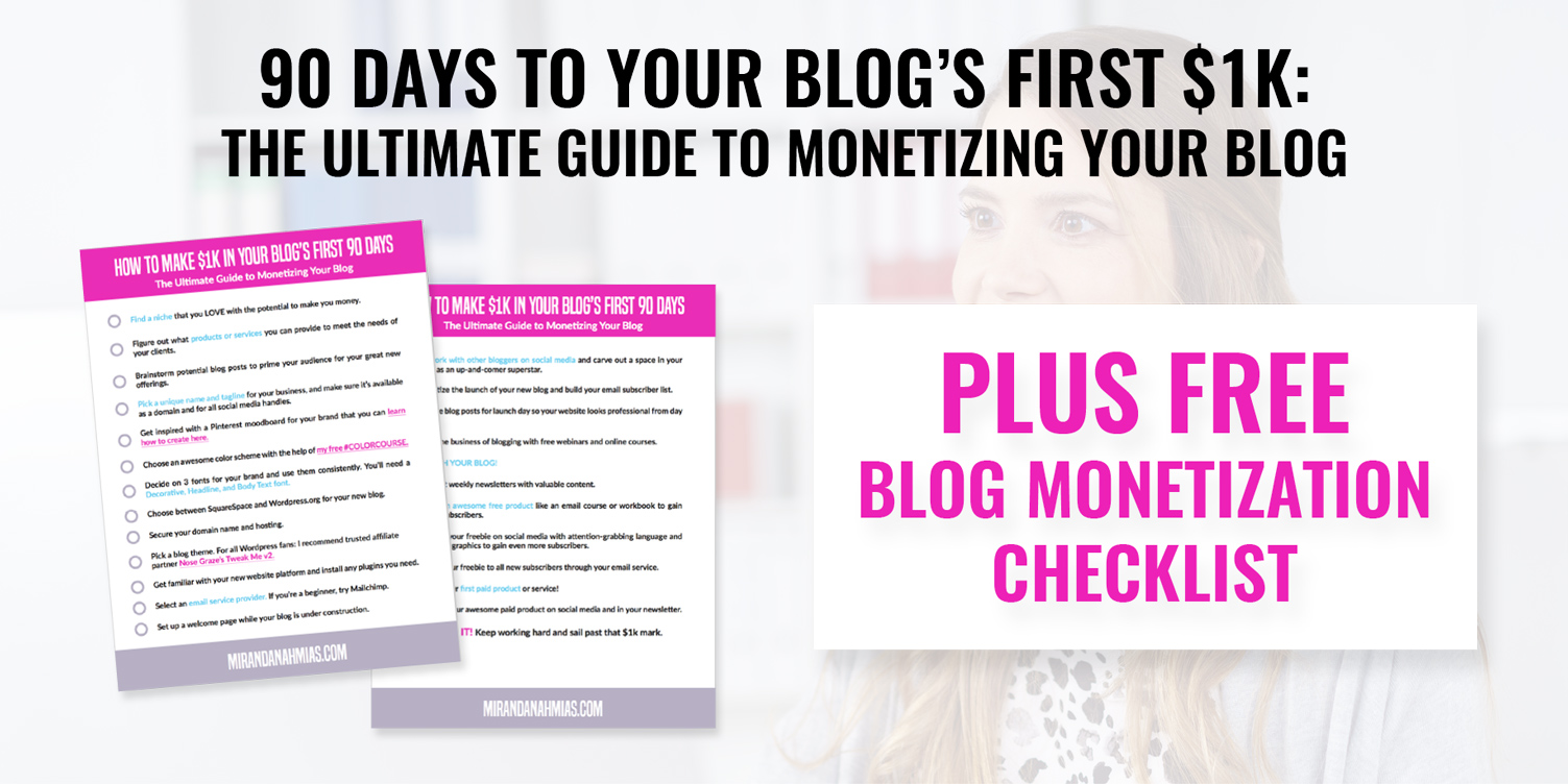 Download Your Free Blog Monetization Checklist! Learn How To Monetize Your Blog With The 90 Days To Your Blog's First $1k Course!