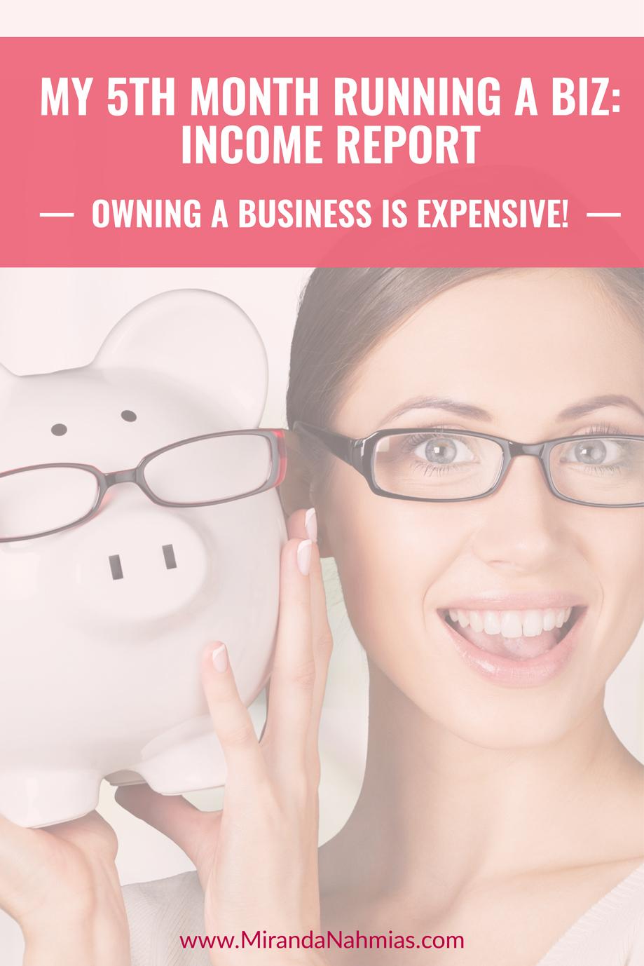 My 5th Month Running a Biz: Income Report // Miranda Nahmias