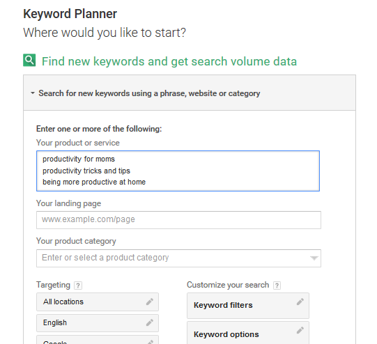 Blog Post Idea Generation with Keyword Planner