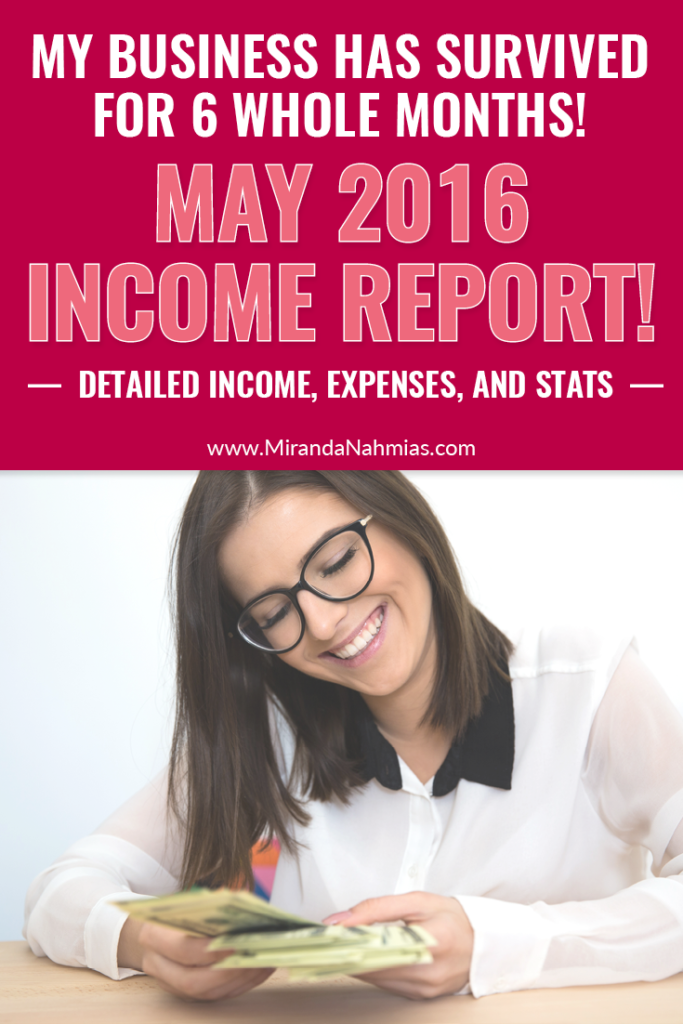 My Business Has Survived 6 Months! Check out this May 2016 income report with detailed income, expenses, and stats! // Miranda Nahmias