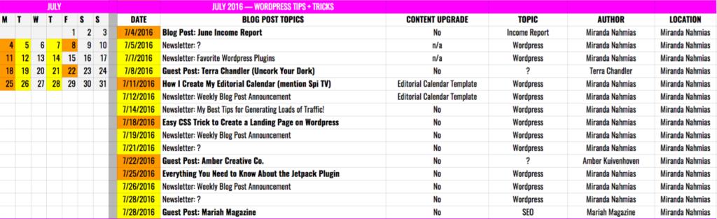 Effective Editorial Calendar Details