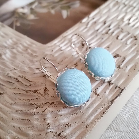 Blue Button Earrings Etsy Shops July 2016