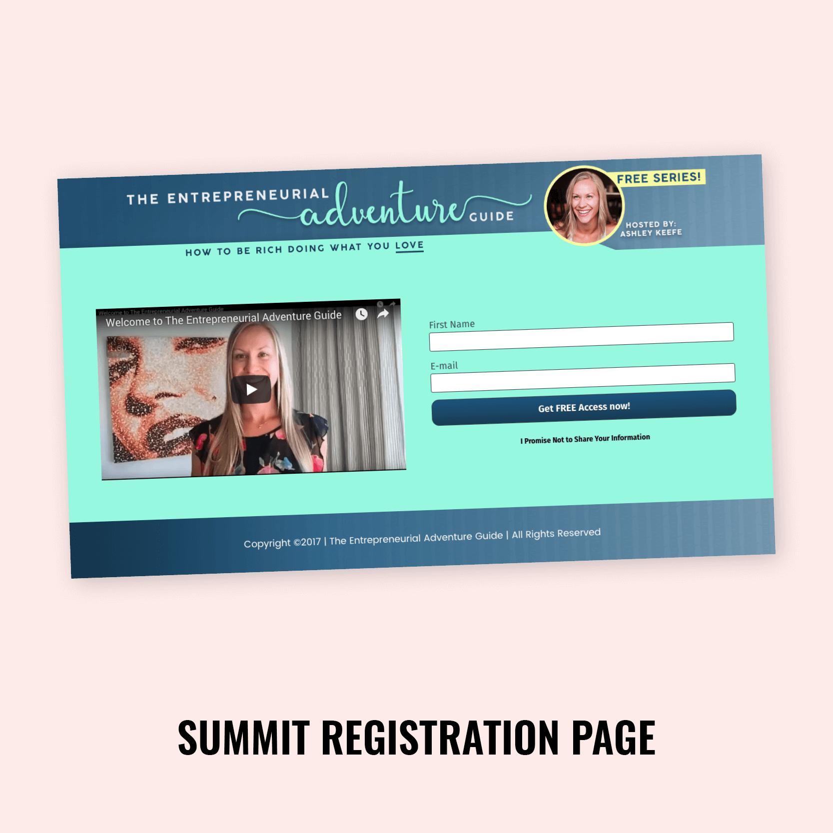 Ashley Keefe Summit Registration Page